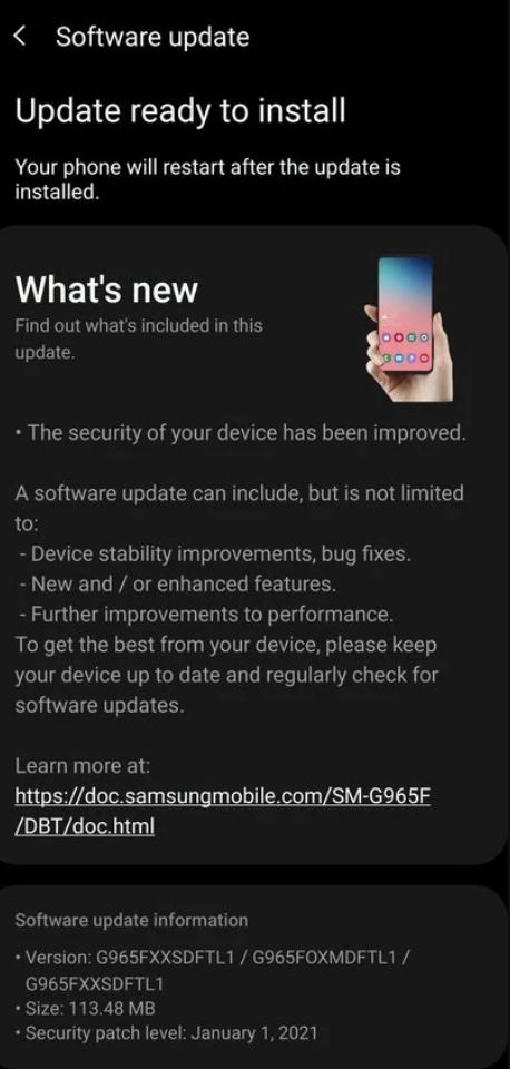 Samsung galaxy s9 security update 2021