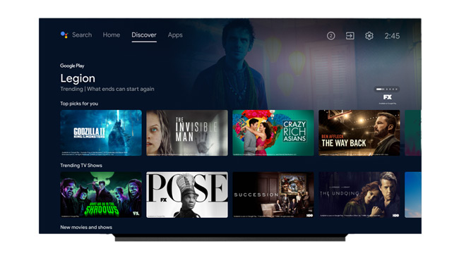 Android TV interface 2021