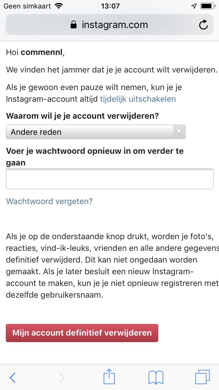 Instagram account delete screen (2)