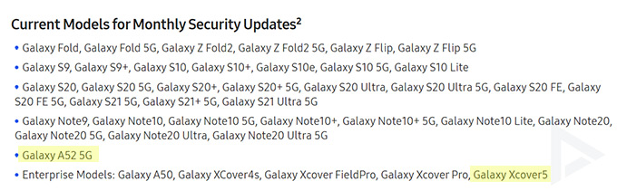 Galaxy A52 Xcover 5 security update monthly